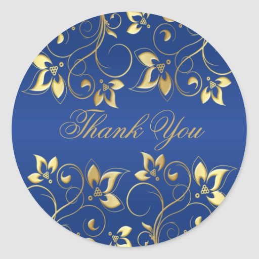 """Gold Floral and Royal Blue 1.5"""" Round Sticker"""