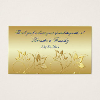 Gold Floral and Royal Blue Wedding Favor Tag