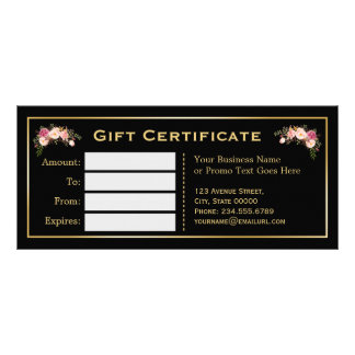 Gold Floral Black White Stripes Gift Certificate Custom Rack Card