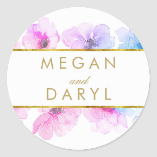 Gold Floral Blue Purple Elegant Wedding Round Sticker