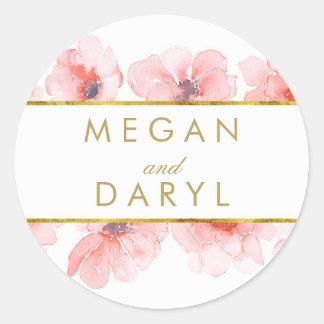 Gold Floral Blush Elegant Wedding Round Sticker