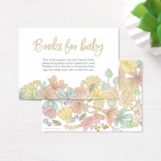 Gold Floral Books for baby Baby Shower Insert Card