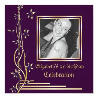Gold floral border on purple birthday invitation