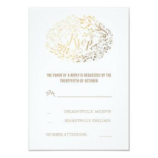 Gold Floral Bouquet Wedding RSVP Cards 9 Cm X 13 Cm Invitation Card