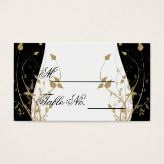Gold Floral Curved Wedding Place Card