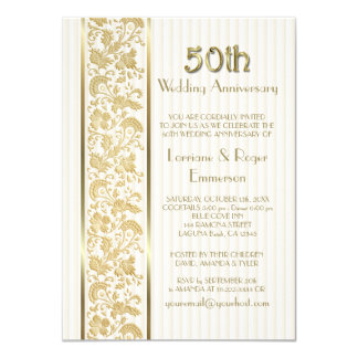 Gold Floral Elegance 50th Wedding Anniversary 11 Cm X 16 Cm Invitation Card