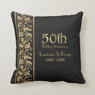 Gold Floral Elegance 50th Wedding Anniversary Throw Cushion