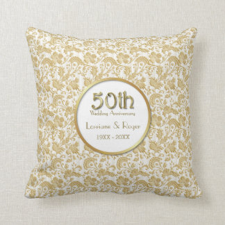 Gold Floral Elegance 50th Wedding Anniversary Throw Pillow