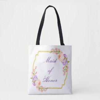 Gold Floral Frame with Custom text Tote Bag