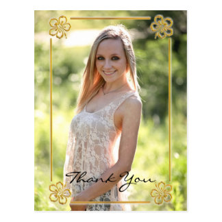 Gold Floral Framed Photo - Thank You Post Card