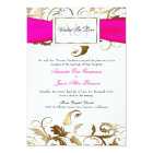 Gold Floral Invite with Pink Bow
