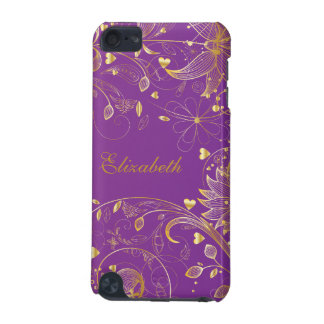 Gold Floral IPod Touch Case Purple