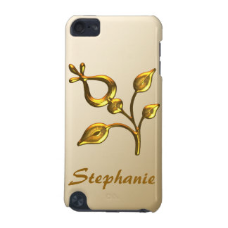 Gold Floral Jewel Personalised iPod Touch (5th Generation) Cover