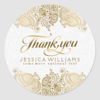 Gold Floral Lace Thank You Classic Round Sticker