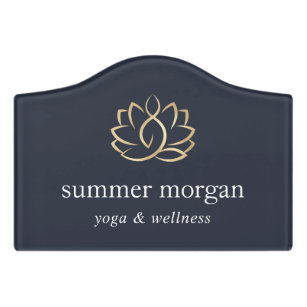 Gold Floral Lotus Logo | Yoga Massage Spa Door Sign