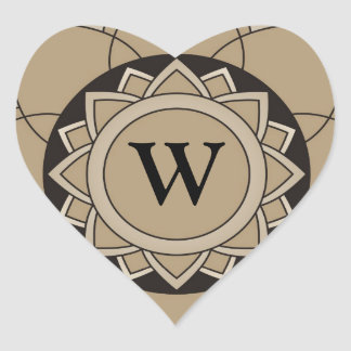 Gold Floral Mandala  Monogram  Initial Heart Sticker