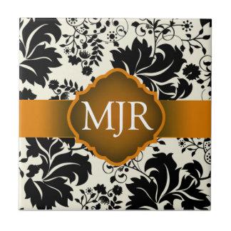 Gold Floral Monogram Keepsake Wedding Favour Small Square Tile