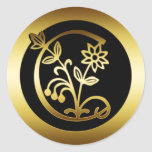 GOLD FLORAL MONOGRAM LETTER C STICKERS