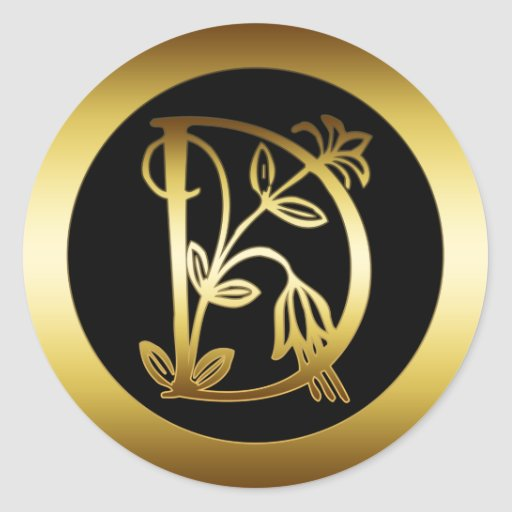 GOLD FLORAL MONOGRAM LETTER D ROUND STICKERS