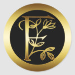 GOLD FLORAL MONOGRAM LETTER F ROUND STICKERS