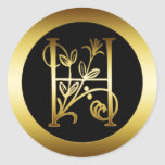GOLD FLORAL MONOGRAM LETTER H ROUND STICKERS