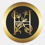 GOLD FLORAL MONOGRAM LETTER H STICKER