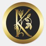 GOLD FLORAL MONOGRAM LETTER K