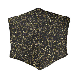 Gold Floral Music Notes On Black Pouf