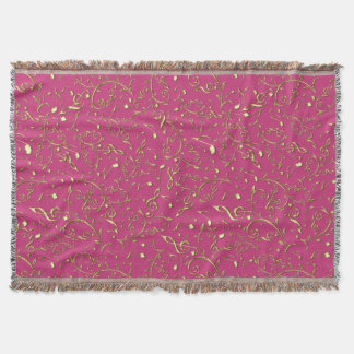 Gold Floral Music Notes On Hot Pink Or Any Color Throw Blanket
