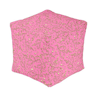 Gold Floral Music Notes On Pink Pouf