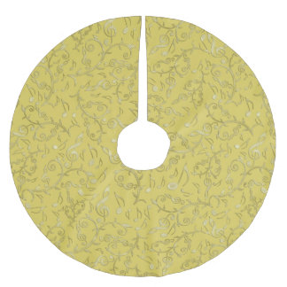 Gold Floral Music Notes Pattern Tree Skirt