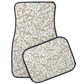 Gold Floral Music Pattern On White or Any Color Floor Mat