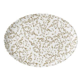 Gold Floral Music Pattern On White or Any Color Porcelain Serving Platter