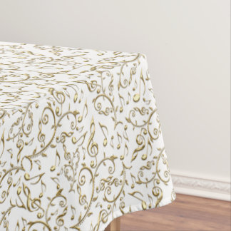 Gold Floral Music Pattern On White or Any Color Tablecloth