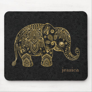 Gold Floral paisley Elephant Illustration Mouse Pad