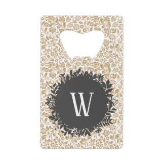 Gold Floral Pattern with Dark Gray Circle Monogram