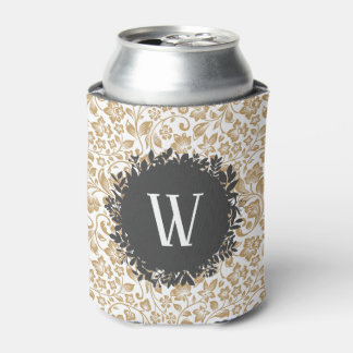 Gold Floral Pattern with Dark Gray Circle Monogram Can Cooler