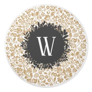 Gold Floral Pattern with Dark Gray Circle Monogram Ceramic Knob