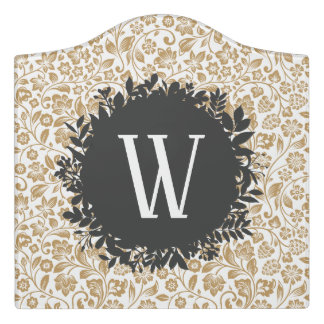 Gold Floral Pattern with Dark Gray Circle Monogram Door Sign