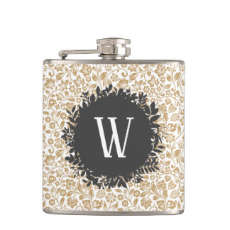 Gold Floral Pattern with Dark Gray Circle Monogram Hip Flask