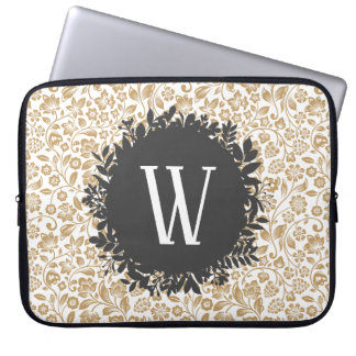 Gold Floral Pattern with Dark Gray Circle Monogram Laptop Sleeve