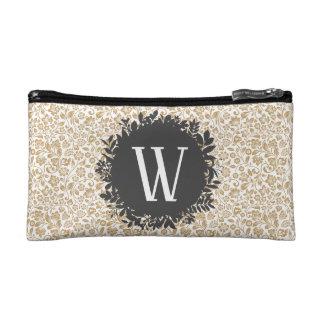 Gold Floral Pattern with Dark Gray Circle Monogram Makeup Bag