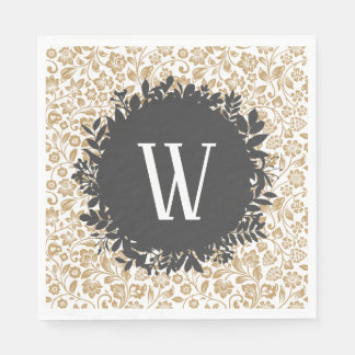 Gold Floral Pattern with Dark Gray Circle Monogram Paper Napkins