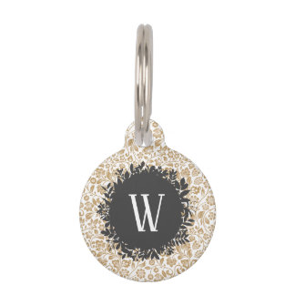 Gold Floral Pattern with Dark Gray Circle Monogram Pet ID Tag