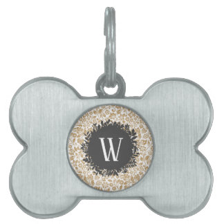 Gold Floral Pattern with Dark Gray Circle Monogram Pet Name Tag