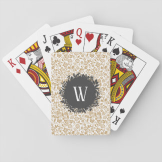 Gold Floral Pattern with Dark Gray Circle Monogram Playing Cards