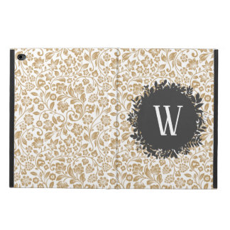 Gold Floral Pattern with Dark Gray Circle Monogram Powis iPad Air 2 Case