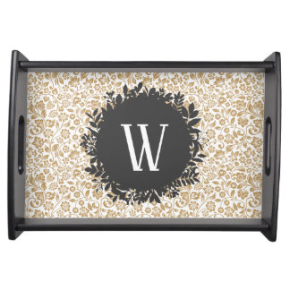 Gold Floral Pattern with Dark Gray Circle Monogram Serving Tray