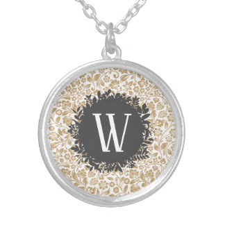 Gold Floral Pattern with Dark Gray Circle Monogram Silver Plated Necklace