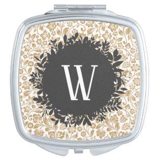 Gold Floral Pattern with Dark Gray Circle Monogram Travel Mirror